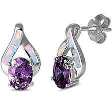 Amethyst & Lab Created White Opal High Fashion .925 Sterling Silver Earrings