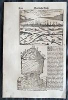 1628 Munster Antique Print View Mainz,Germany, Burial Mound, Adolph II of Nassau