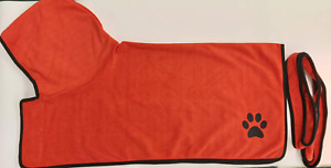 Clearance Plain RED Dog towel/Dog robe, drying coat, hooded paw print design