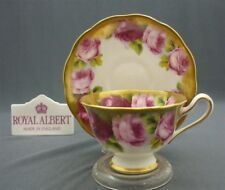 c1930 Royal Albert Crown China Old English Rose Heavy Gold Tea Cup & Saucer Duo