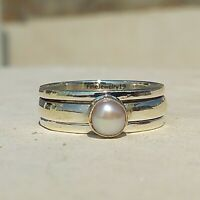 Pearl Stone 925 Sterling Silver Spinner Ring Meditation Statement Jewelry A58