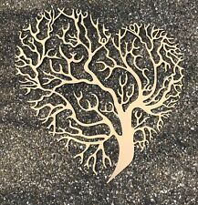 "XXL Wandornament ""Baum des Lebens"" in Herzform - goldfarben 65 x 60 cm Metall"