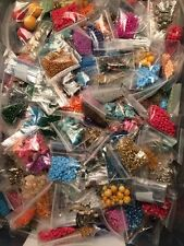 Huge Mix of Jewelry Making Supplies Findings Bead Craft Lot 25 Bags + 5 Charms