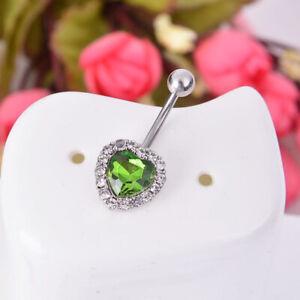 Women Navel Belly Button Rings Bar Crystal Flower Dangle Body Piercing Jewelry