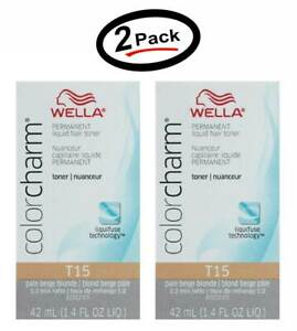 2 Wella Color Charm Permament Liquid Hair Color Toner 42mL Pale Beige Blonde T15