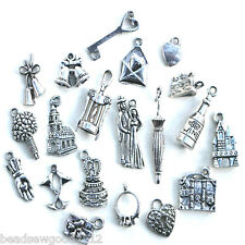 20 ANTIQUE SILVER TONE WEDDING THEMED CHARMS Favours Decoration Craft Mix