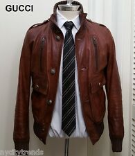 GUCCI leather jacket Madonna brown bomber flight military rare Ronaldo nr slim S