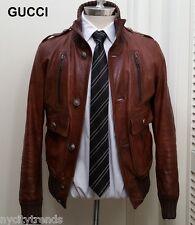 GUCCI leather jacket Madonna brown bomber flight military rare Ronaldo nr slim S