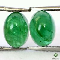 2.42 Cts Certified Natural Emerald Oval Cabochon Pair 7x5 mm Untreated Gemstones