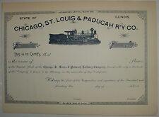 Chicago St. Louis & Paducah  Railway Co. Stock Certificate Railroad