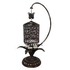 Antique Gold Metal Lantern Tea Light Carousel Candelabra Holder W Butterfly