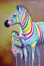 ABSTRACT RAINBOW ZEBRA POP ART CONTEMPORARY OIL PAINTING 24X36 USA DEALER ID6-3