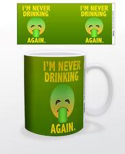 EMOJI NEVER DRINKING AGAIN 11OZ COFFEE MUG TEA CUP KEYBOARD FUNNY QUOTE HANGOVER