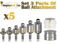 X5 Ball Attachment + Slicone Cap + Metal Cap 3 parts Set For Dental Implant