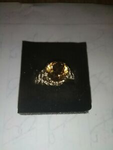 mens sterling silver ring size 10 with natural golden Topaz 4.36 cts.  10mm
