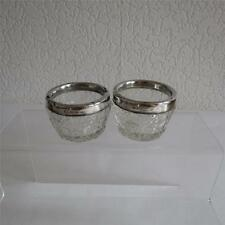 Two Antique Victorian Silver Rimmed Glass Salts c1897