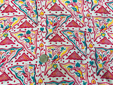New listing Vtg Open Full Feedsack Quilt Fabric Red Pink Birds Triangles Hearts 36� x 42�