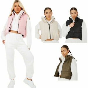 Womens Quilted Zip Up Waistcoat Gilet  Padded Winter Vest Crop Bodywarmer