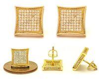 NEW MENS 18K YELLOW GOLD FINISH LAB DIAMOND SCREW BACK STUD EARRINGS