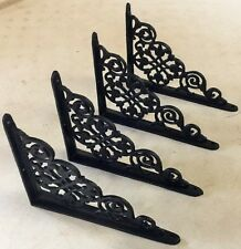 SET OF 4 VICTORIAN FLORAL PATTERN BRACKETS Antique Styled cast iron braces BLACK