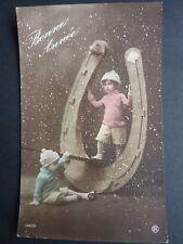 FANTAISIES Enfant old postcard vintage fantasy enfants balançoire fer à cheval 2