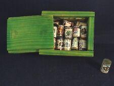 Ancien jouet casier miniature 24 boites conserves épicerie dinette enfant poupée
