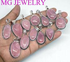 20 Pcs Lot Natural Rose Quartz Gemstone 925 Sterling Silver Plated Pendants