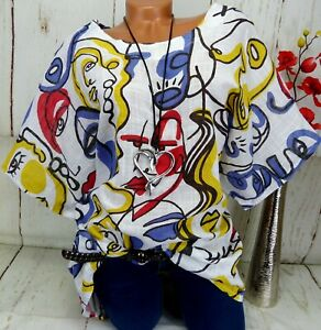 Tunika Shirt T-Shirt Bluse Italy Top Oversize Baumwolle Ballon Altweiß XXL 48 50