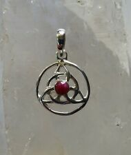 613 Ruby Triquetra Solid 925 Sterling Silver faceted gemstone pendant rrp$44.95