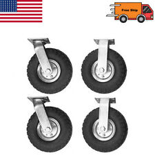 4pcs Industrial 10 Air Tire Pneumatic 2 Swivel Caster 2 Fixed Wheels Cart Set