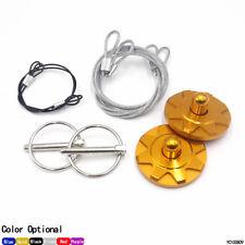 Universal Racing Sport Aluminum Flip Over Hood Pin Lock Latch Clip Kit Gold