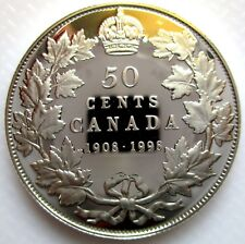 1998 CANADA 1908-1998 MIRROR FINISH STERLING SILVER 50 CENTS PROOF COIN