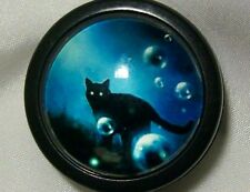 BLACK CAT BUBBLES - ID Holders Badge Reels Halloween plastic