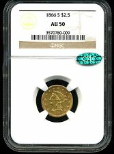1866-S G$2.5 Liberty Head Gold Quarter Eagle AU50 NGC CAC ***Key Date***
