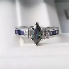 Ladies 925 Sterling Silver Marquise Mystic Topaz Engadgement Ring Gift Unwanted
