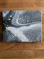 acrylic paint pour paintings 8 x 10 inches, Black and White