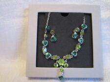 Collier mit Ohrringe grün Rosen Strass Modeschmuck