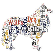 Personalised Dog Lovers Collie Word Art Print Great Gift