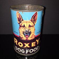 HTF VINTAGE! Roxey 1950s Dog Food Tin Can GERMAN SHEPARD  Paper Label Pet Shop