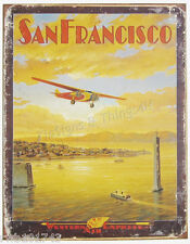 San Francisco Western Air vtg plane TIN SIGN flying travel poster art metal 1985