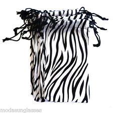 12 PCS Eyeglass Sunglass Microfiber Soft Cloth Bag Pouch Case BLACK/WHITE ZEBRA