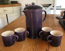 Le Creuset French Press Cafetiere Plus 4 x Espresso Mugs Rare Colour 'Cassis'
