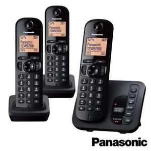 PANASONIC TGC223 CORDLESS TRIO PHONE WITH ANSWERING MACHINE BLACK KX-TGC223EB
