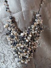 Pallm Beach Cultured Bib Statement Freshwater Pearl Necklace Black White