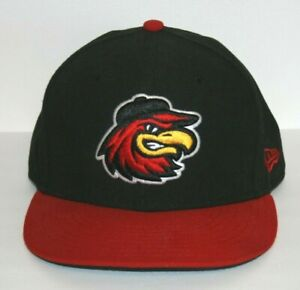 ROCHESTER RED WINGS BASEBALL CAP SPIKES LOGO  RED & BLACK  NEW ERA FITTED  7 3/8