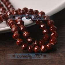 New 100pcs 6X4mm Rondelle Faceted Glass with Color Coated Loose Beads Dp Coffee