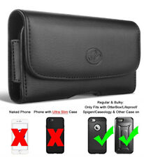 LEATHER & RUGGED HOLSTER CASE BELT CLIP FOR iPHONE MODELS FITS w/ OTTERBOX ON IT