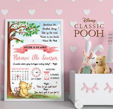 Personalised Winnie The Pooh New Baby Wall Print • Pooh Bear Nursery Prints Gift