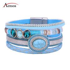 Multilayer Waistband Genuine Leather Crystal Turquoise Wrap Cuff Bracelet Bangle