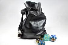 Black Dice Bag Leather Soft Rope Cord Tie Handmade BrycesDice Vintage Retro